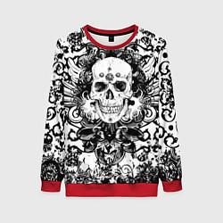Свитшот женский Grunge Skull цвета 3D-красный — фото 1