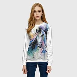 Свитшот женский Акварельная лошадь цвета 3D-белый — фото 2