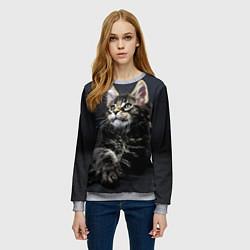 Свитшот женский Кошечка цвета 3D-меланж — фото 2