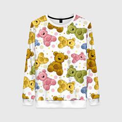 Свитшот женский Любимые медвежата цвета 3D-белый — фото 1