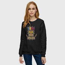 Свитшот хлопковый женский Aku-Aku (Crash Bandicoot) цвета черный — фото 2