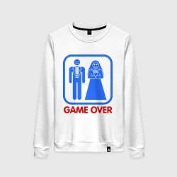 Свитшот хлопковый женский Game over цвета белый — фото 1
