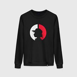 Свитшот хлопковый женский Эш: ловец покемонов цвета черный — фото 1