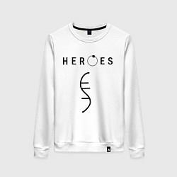 Свитшот хлопковый женский Heroes Symbol цвета белый — фото 1