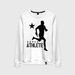 Свитшот хлопковый женский Лёгкая атлетика цвета белый — фото 1