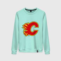 Свитшот хлопковый женский Calgary Flames цвета мятный — фото 1