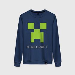 Свитшот хлопковый женский Minecraft logo grey цвета тёмно-синий — фото 1