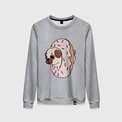 Свитшот хлопковый женский Мопс-пончик цвета меланж — фото 1