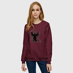 Свитшот хлопковый женский Терраны цвета меланж-бордовый — фото 2