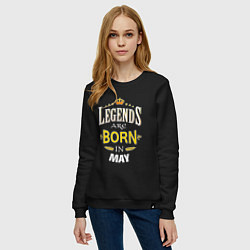 Свитшот хлопковый женский Legends are born in may цвета черный — фото 2