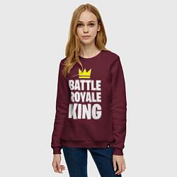 Свитшот хлопковый женский Battle Royale King цвета меланж-бордовый — фото 2