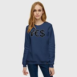 Свитшот хлопковый женский YE$ цвета тёмно-синий — фото 2