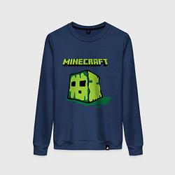 Свитшот хлопковый женский Minecraft Creeper цвета тёмно-синий — фото 1