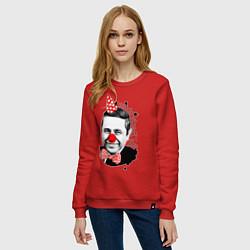Свитшот хлопковый женский Евгений Петросян клоун цвета красный — фото 2