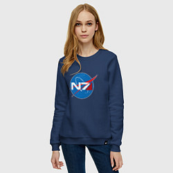 Свитшот хлопковый женский NASA N7 цвета тёмно-синий — фото 2