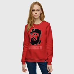Свитшот хлопковый женский Fidel Castro цвета красный — фото 2
