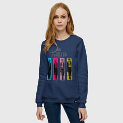 Свитшот хлопковый женский Walking Beatles цвета тёмно-синий — фото 2