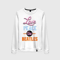 Свитшот хлопковый женский Love peace the Beatles цвета белый — фото 1