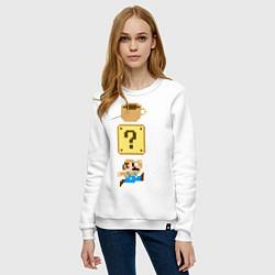Свитшот хлопковый женский Любитель кофе Марио цвета белый — фото 2