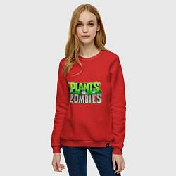 Свитшот хлопковый женский Plants vs zombies цвета красный — фото 2