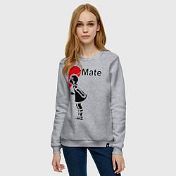 Свитшот хлопковый женский Soul Mate: Girl цвета меланж — фото 2