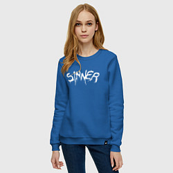 Свитшот хлопковый женский SINNER цвета синий — фото 2