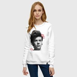 Свитшот хлопковый женский Harry Styles цвета белый — фото 2