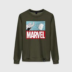 Свитшот хлопковый женский Thor: Marvel цвета хаки — фото 1
