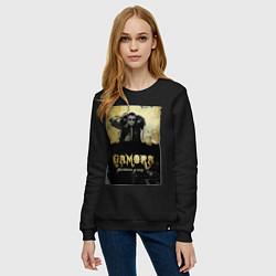 Свитшот хлопковый женский Гамора: дыхание улиц цвета черный — фото 2