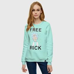 Свитшот хлопковый женский Free Rick цвета мятный — фото 2
