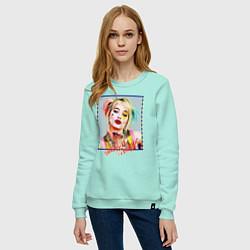 Свитшот хлопковый женский Harley Quinn XX цвета мятный — фото 2