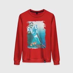 Свитшот хлопковый женский Крым цвета красный — фото 1
