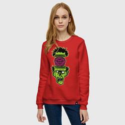 Свитшот хлопковый женский Зомби на прицеле цвета красный — фото 2