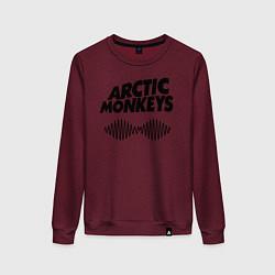 Свитшот хлопковый женский Arctic Monkeys цвета меланж-бордовый — фото 1
