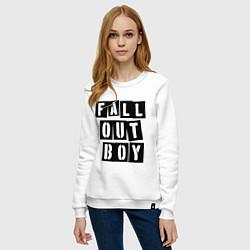 Свитшот хлопковый женский Fall Out Boy: Words цвета белый — фото 2