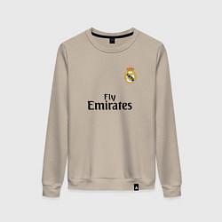 Свитшот хлопковый женский Real Madrid: Fly Emirates цвета миндальный — фото 1