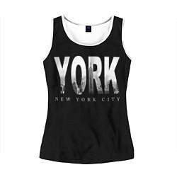 Майка-безрукавка женская New York City цвета 3D-белый — фото 1