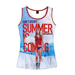 Майка-безрукавка женская Summer is coming цвета 3D-красный — фото 1