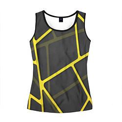 Майка-безрукавка женская Желтая сетка цвета 3D-черный — фото 1