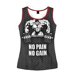 Майка-безрукавка женская No pain, no gain цвета 3D-красный — фото 1
