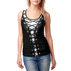 Майка-безрукавка женская Шнуровка цвета 3D-черный — фото 2