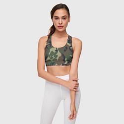 Топик спортивный женский Камуфляж: хаки/зеленый цвета 3D — фото 2
