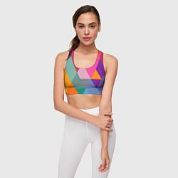 Топик спортивный женский Разноцветные полигоны цвета 3D — фото 2