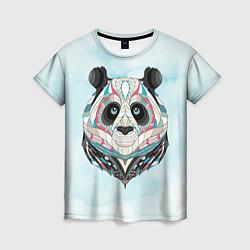Футболка женская Расписная голова панды цвета 3D — фото 1