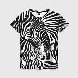 Футболка женская Полосатая зебра цвета 3D-принт — фото 1