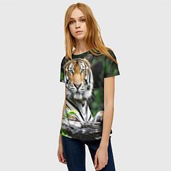 Футболка женская Тигр в джунглях цвета 3D-принт — фото 2
