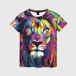 Футболка женская Красочный лев цвета 3D-принт — фото 1