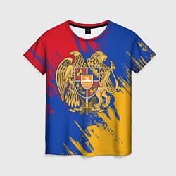 Футболка женская Герб и флаг Армении цвета 3D — фото 1