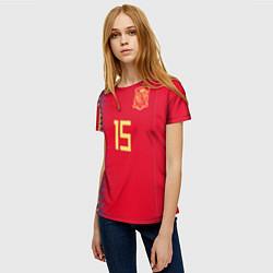 Футболка женская Сборная Испании: Рамос ЧМ 2018 цвета 3D — фото 2