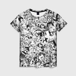 Футболка женская Ahegao: Black & White цвета 3D — фото 1